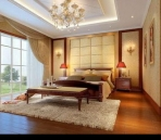 Warm and stylish bedroom model
