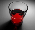 Transparent red wine glass