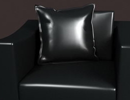 Leather sofa with pillow