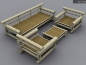 A combination of bamboo sofa